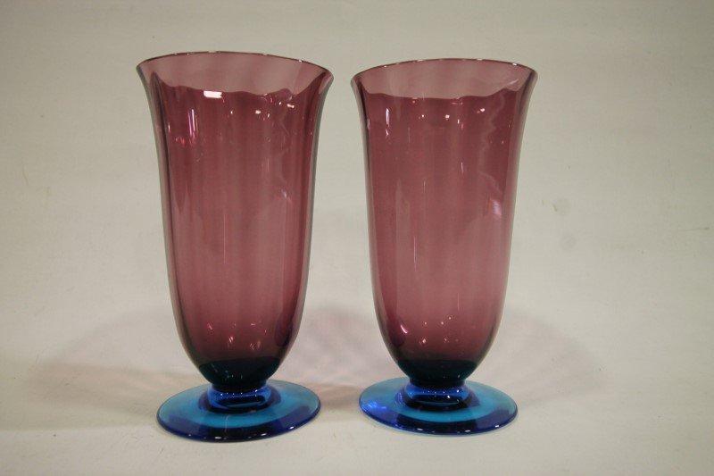 Steuban Celeste Blue & Amethyst Goblets