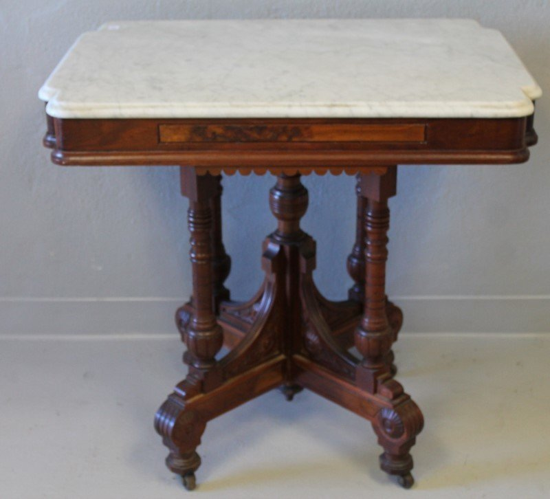 Walnut Marbletop Parlor Table