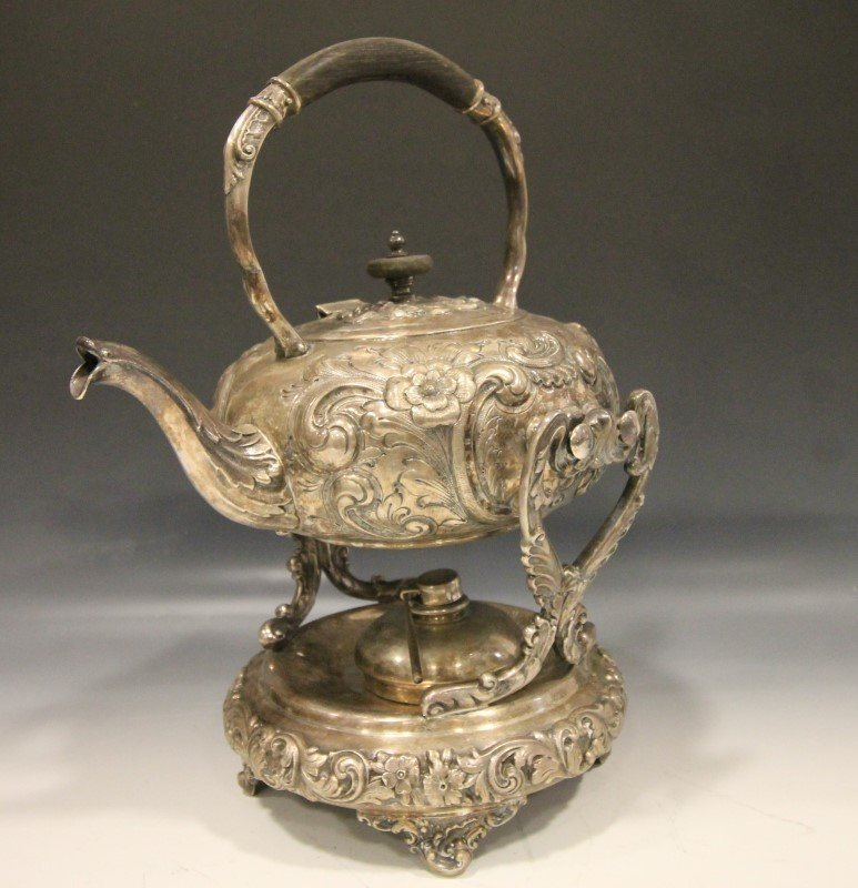 Hallmarked Silverplated Ornate Tilt Teapot