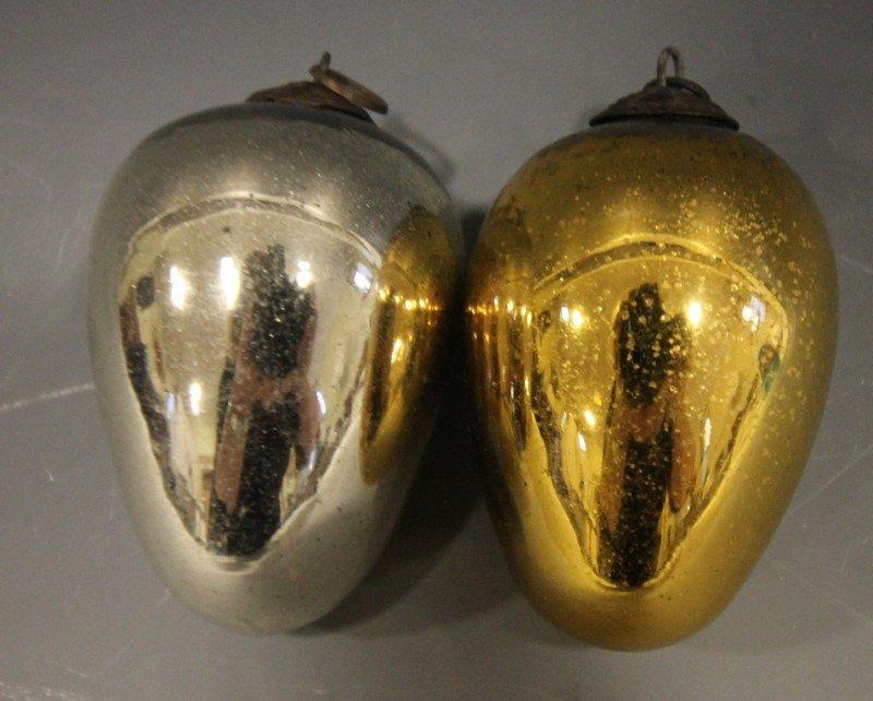 2 Egg-Form German Kugels - Silver & Gold