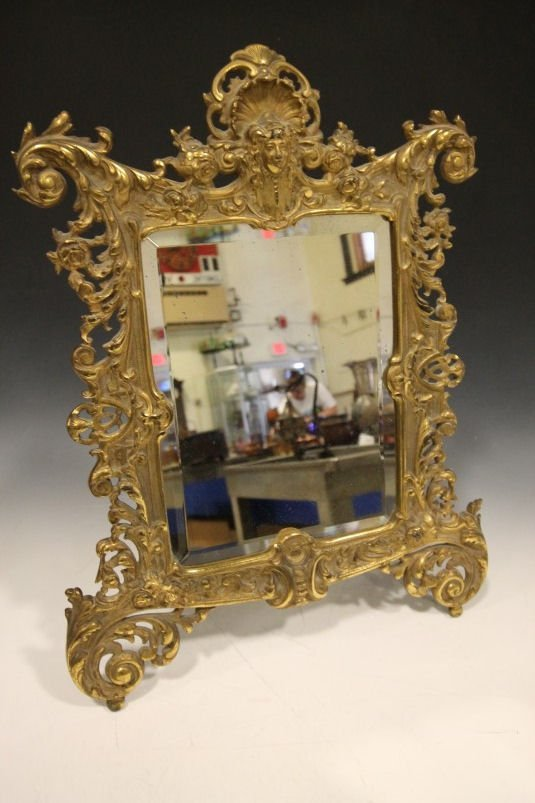 Lg Cast Brass Bradley & Hubbard Dresser Mirror - Ornate