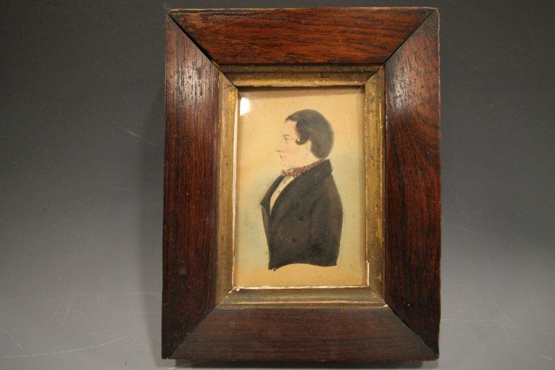 19th C. W/C Portrait 19th C - Gentleman