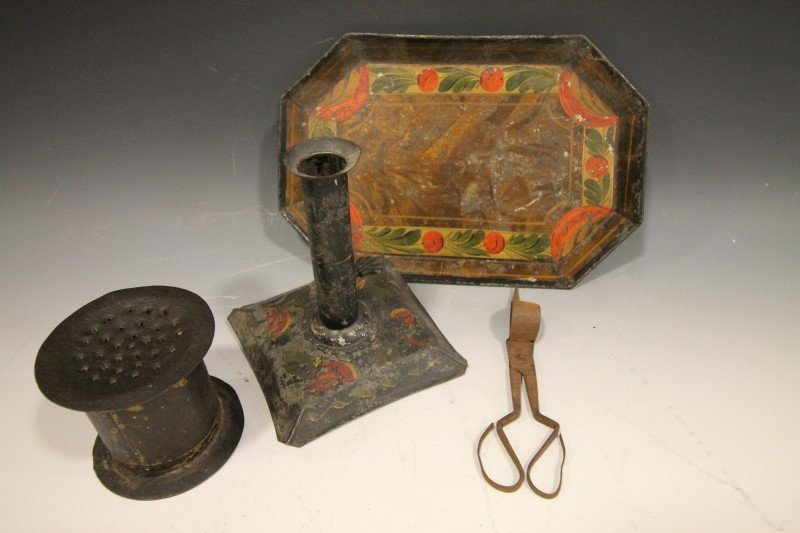 Tin Tole Painted Candlestick, Tray, Sander