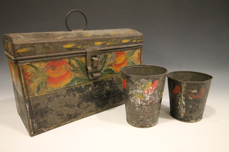 Tinware - Tole-Painted Cups & Other