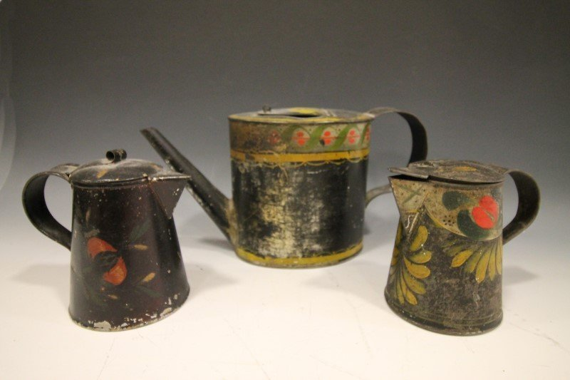 Tin Painted Toleware Syrups & Teapot