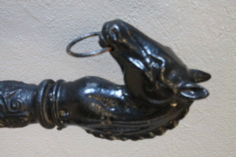 19th C Cast Iron Horse Head Hitching Post - 2