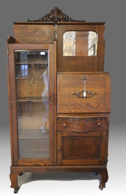 Oak Drop Front Bookcase Secretary