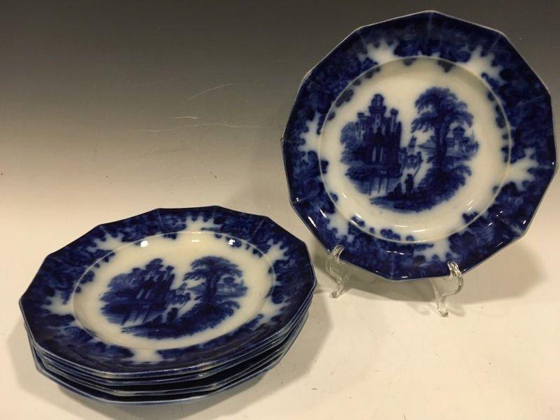 "5 Flow Blue Coburg 9"" Dinner Plates"