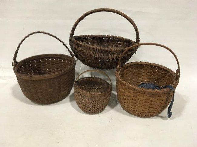 Lot of 4 Antique Baskets