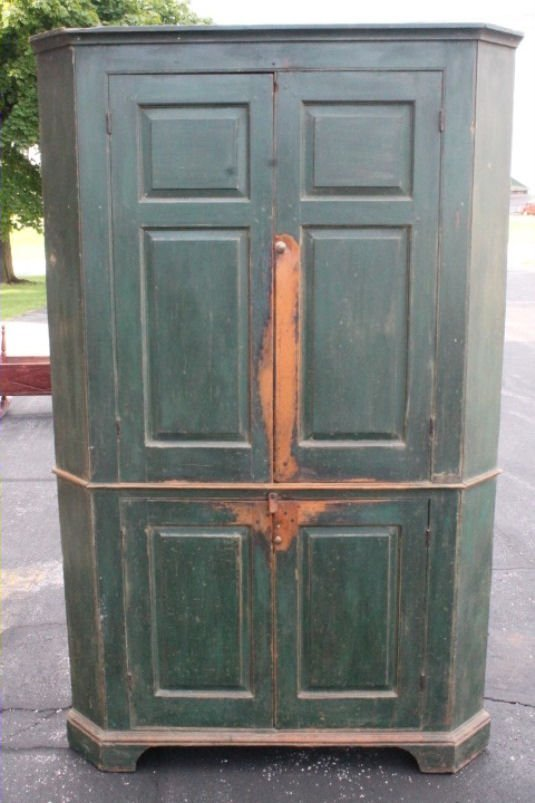 19th C NE Green Painted Corner Cupboard