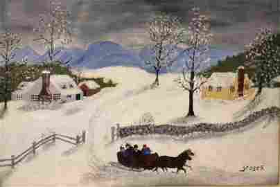 1st Time Offered to Public Grandma Moses Painting 1950