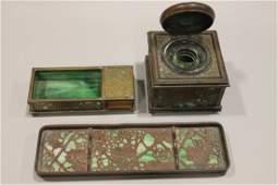 Tiffany 3Pc Desk Set Bronze -Rare Cigarette Box