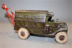1930s Hubley Cast Iron Bell Telephone Truck
