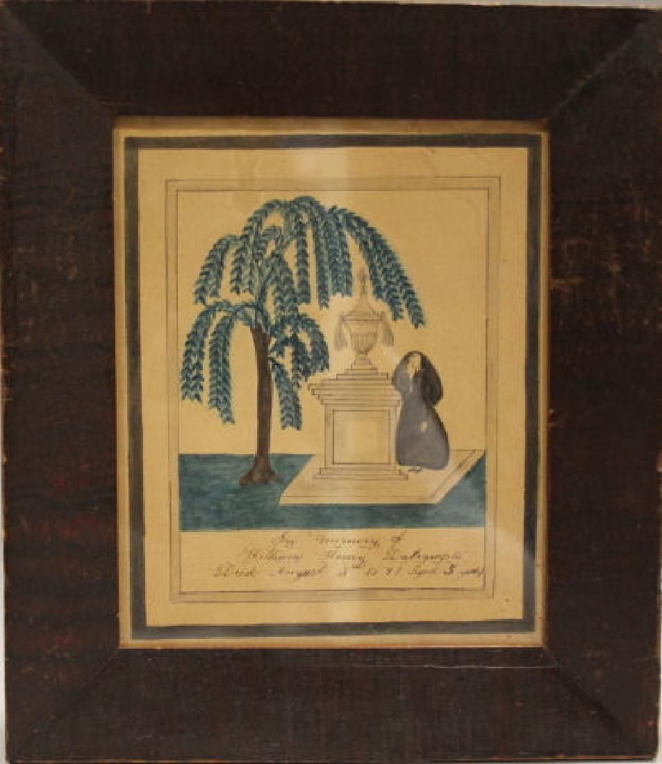 1845 Watercolor Mourning of Child Vermont