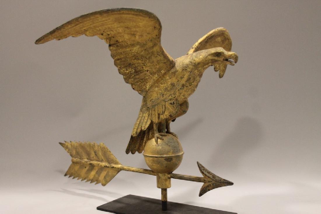 19th C Copper Eagle Weathervane W/ Arrow