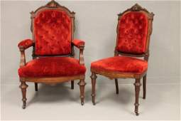 Pair Victorian Parlor Chairs  Footstool