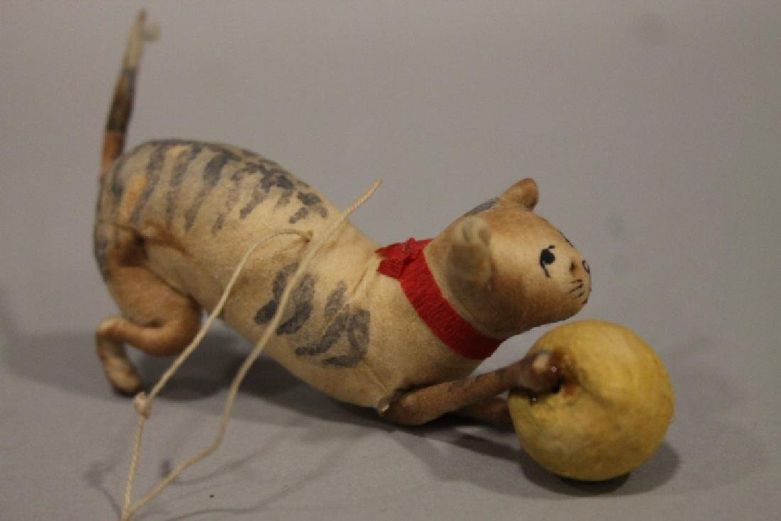 Christmas Ornament - Spun Cotton Cat with Ball