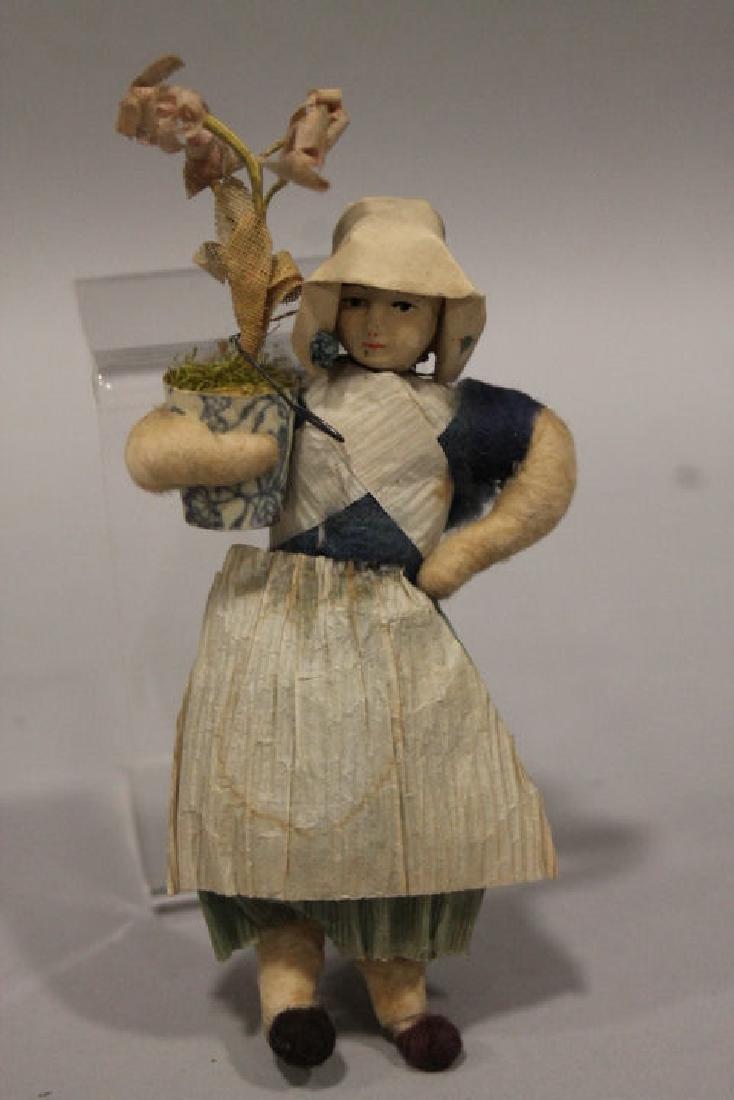 Christmas Ornament - Spun Cotton Girl with Flower Pot