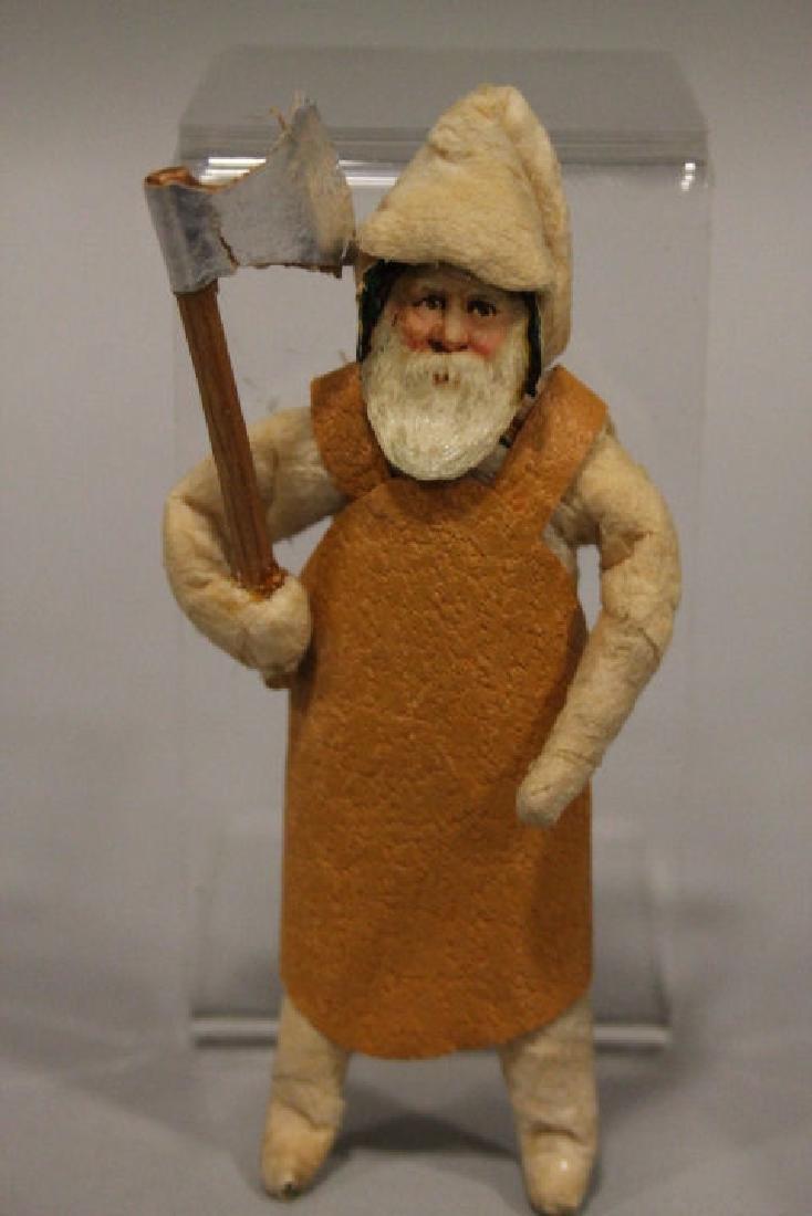 Christmas Ornament - Spun Cotton Santa w/ Axe