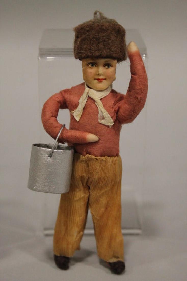 Christmas Ornament - Spun Cotton Boy w/ Bucket