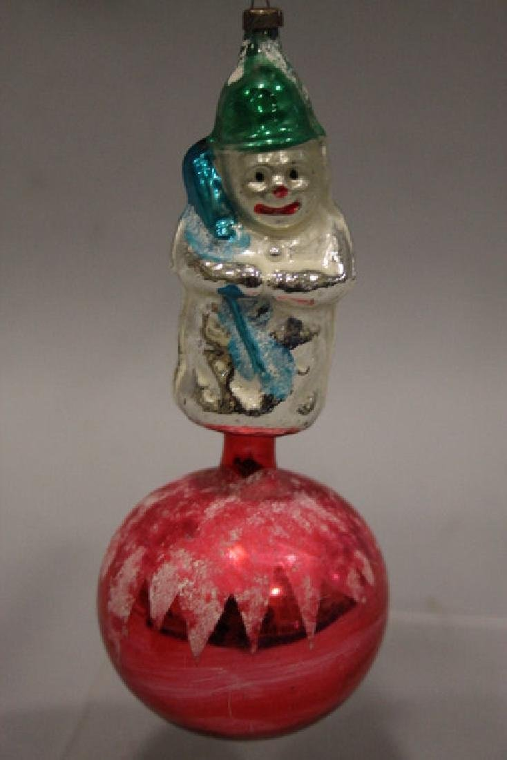Christmas Ornament - Glass Snowman on Sphere / Ball