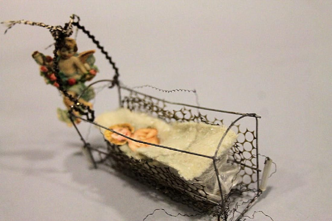 Christmas - Sebnitz Baby in Cradle w/ Guardian Angel