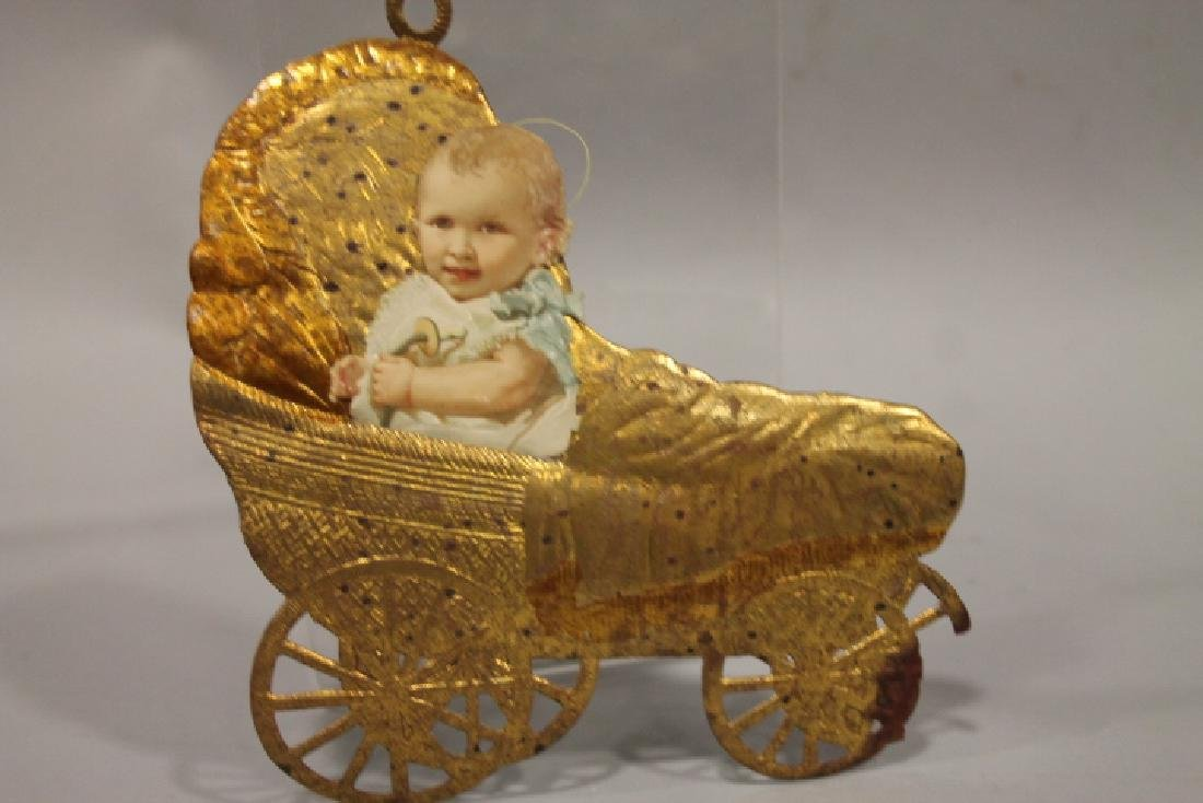 Christmas Ornament - Dresden Baby in Carriage - Flat