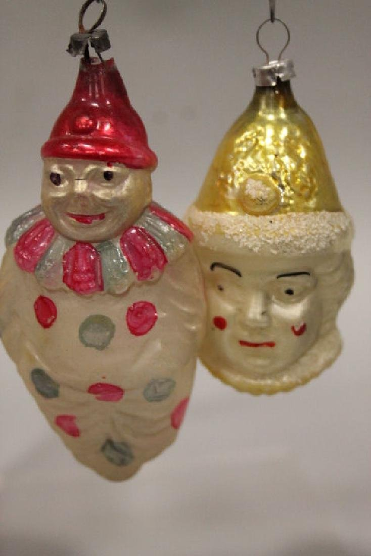 Christmas Ornaments - Glass Clown & Clown's Head