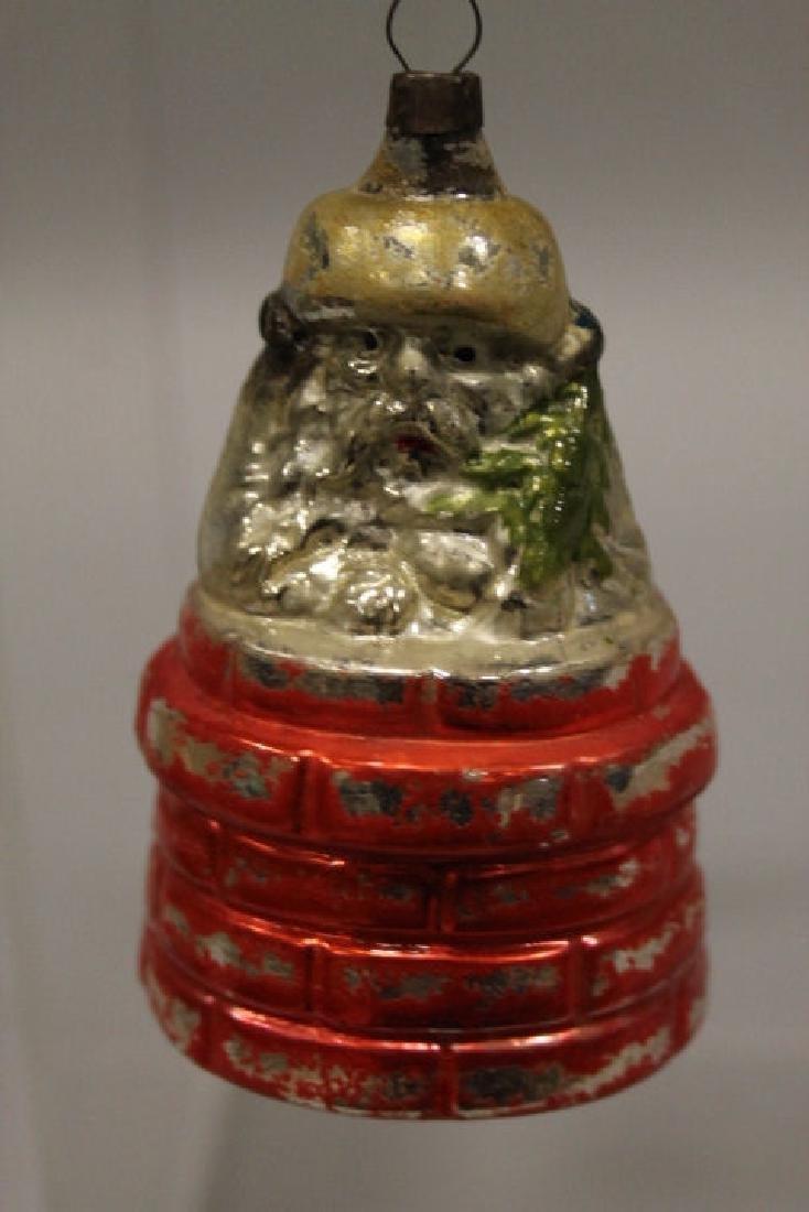 Christmas Ornament - Glass Santa in Chimney