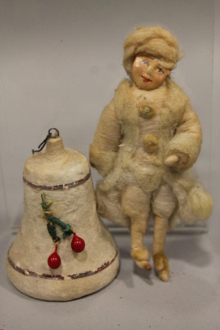 Christmas Ornament - Spun Cotton Girl & Bell