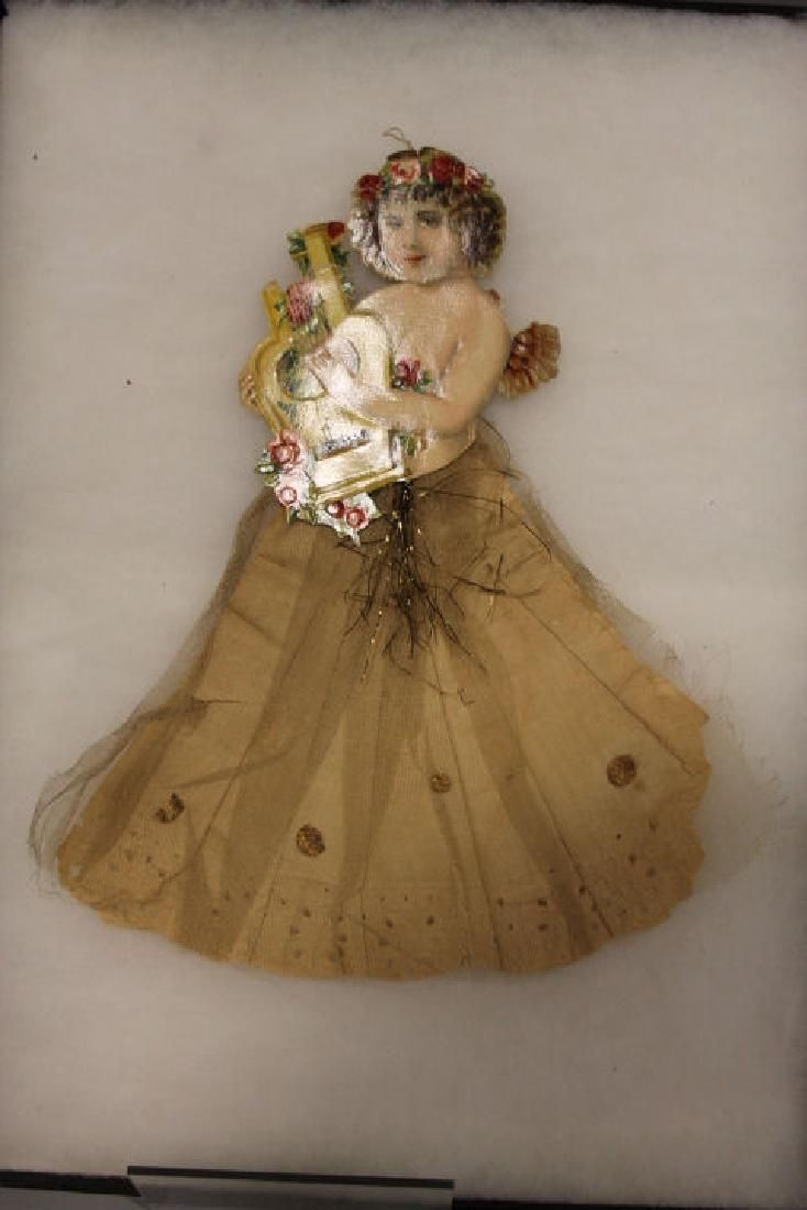 Lithographed Paper Ornament - Girl Playing Lyre