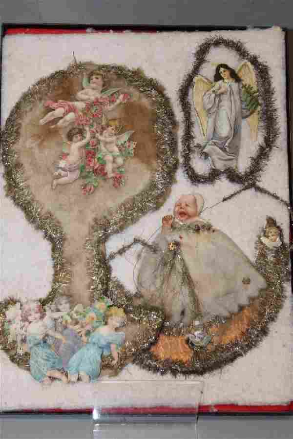 Lithographed Paper Ornaments - Angels & Baby