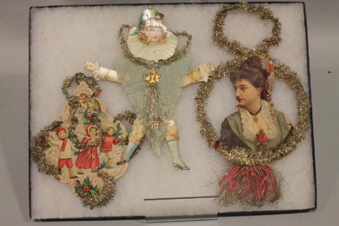 Lithographed Paper Ornaments - Group with Tinsel