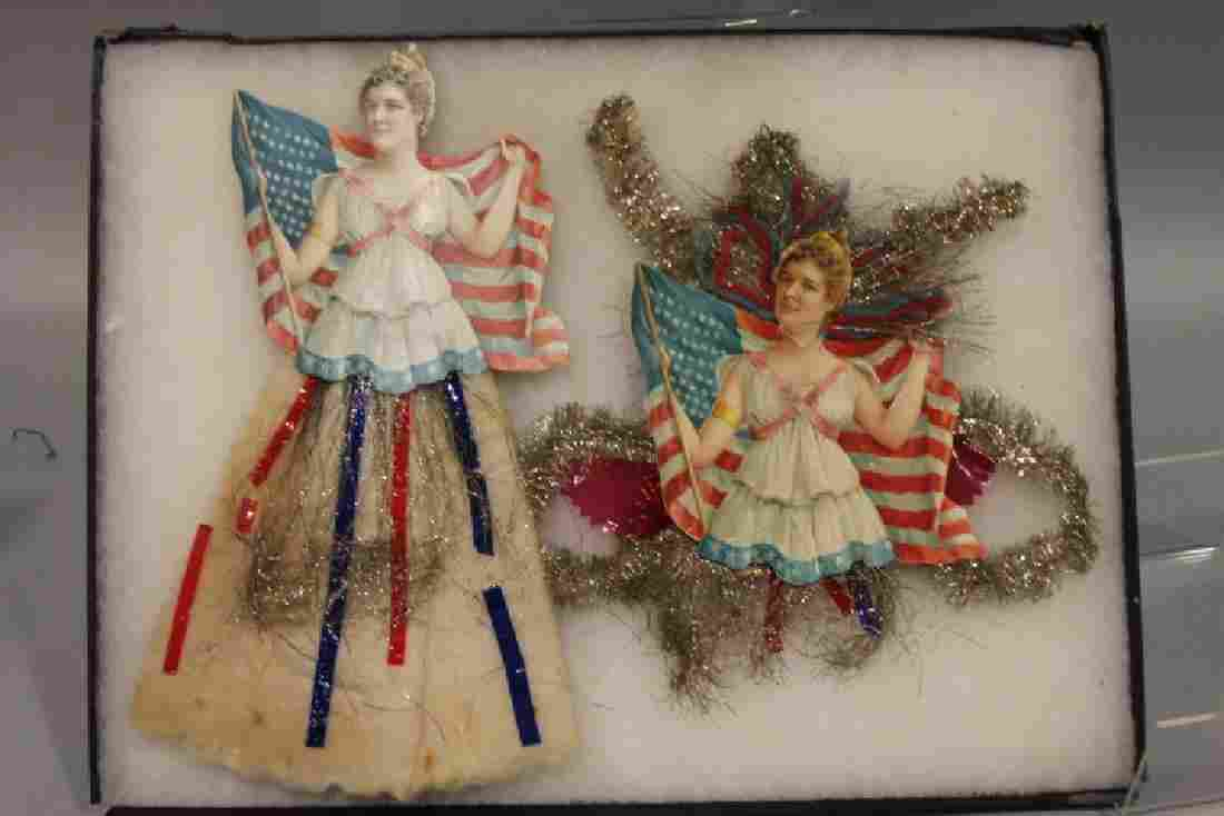 Lithographed Paper Ornaments - Girl w/ American Flags