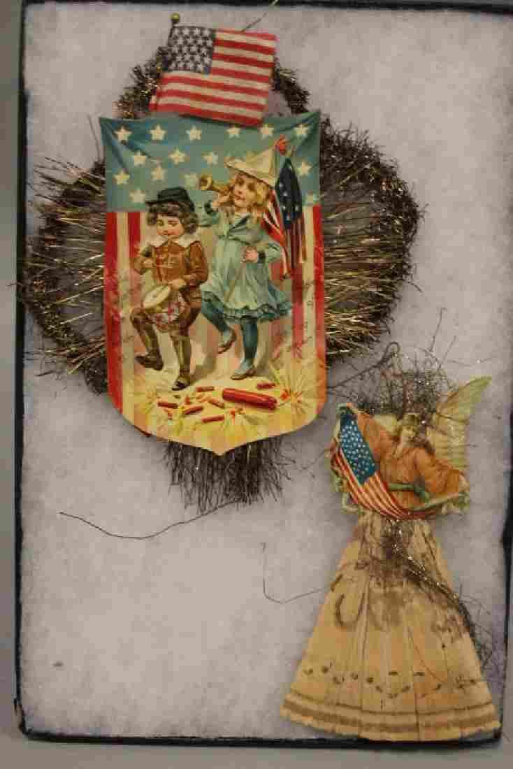 Lithographed Paper Ornaments Patriotic Children & Angel