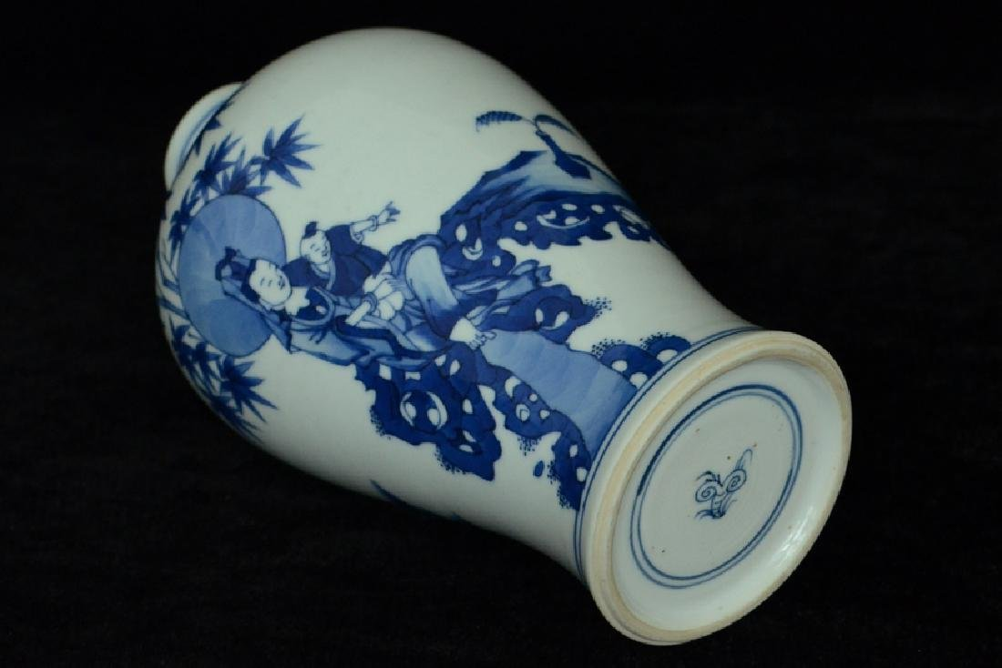 $1 Chinese Blue and White Vase Figure Kangxi - 8