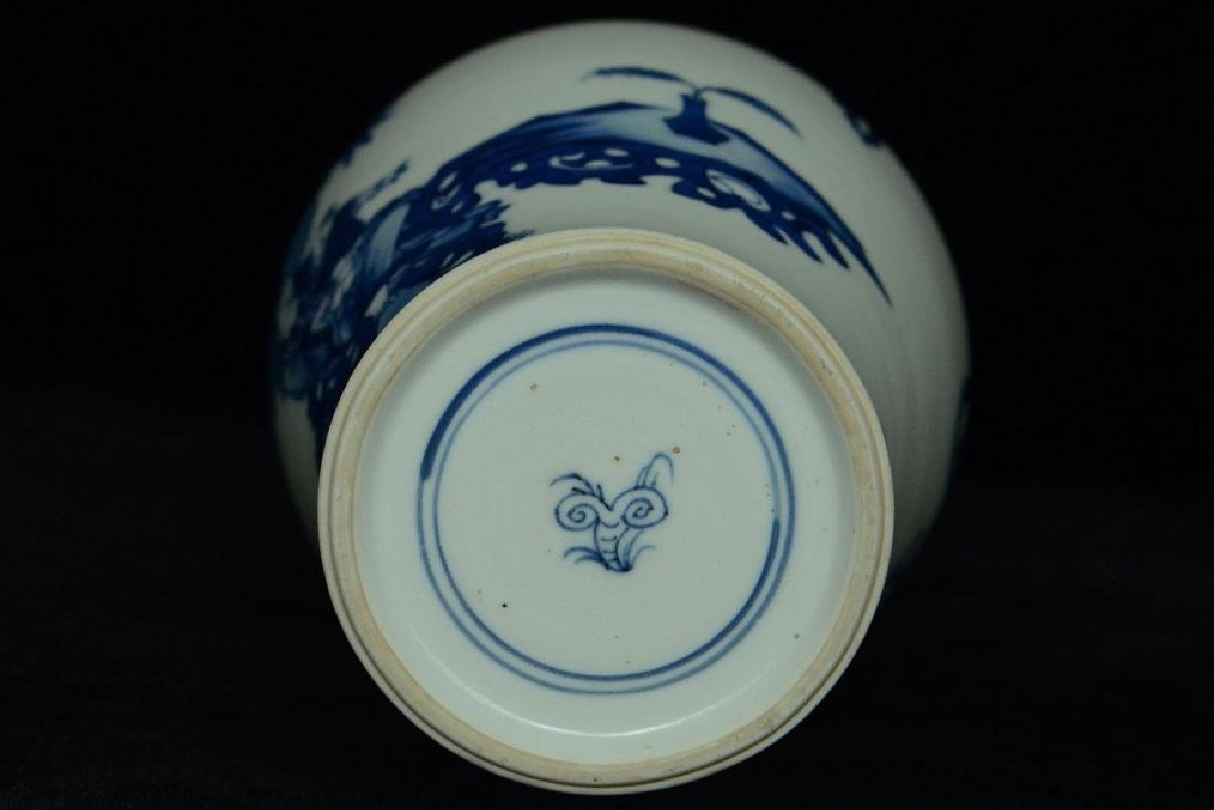 $1 Chinese Blue and White Vase Figure Kangxi - 9