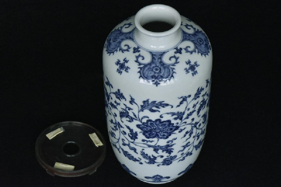 $1 Chinese Blue White Vase Yongzheng Mark &Period - 6