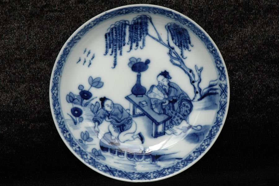 Chinese Blue and White Dish Figure 18th C