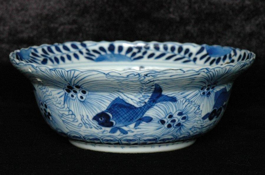 Chinese Blue and White Bowl Kangxi Mark 19th C