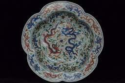 Chinese Ming Wucai Dragon Basin Wanli Mark&Period