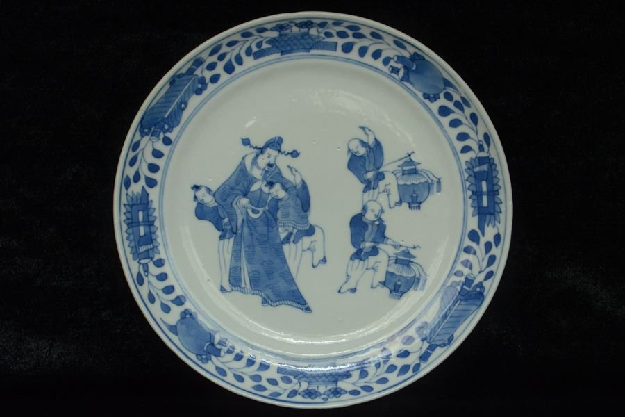 Chinese Blue and White Plate Figure 19th C