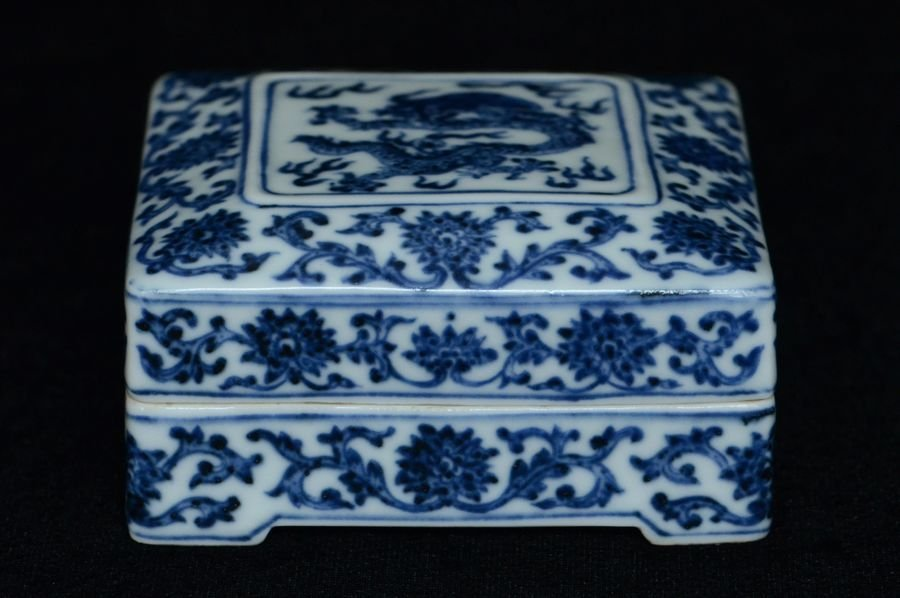 Chinese Dragon Box & Cover Qianlong Mark & Period
