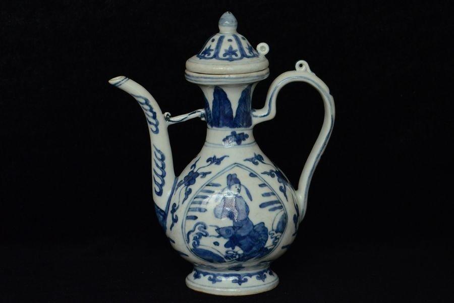 Chinese Ming Blue & White Wine Pot Figure 16th C