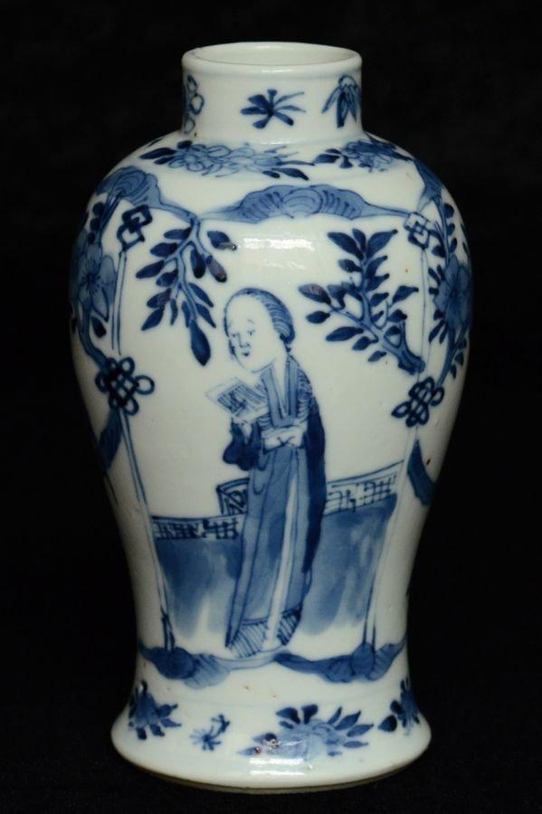 Chinese Blue and White Vase Kangxi Mark 19th C