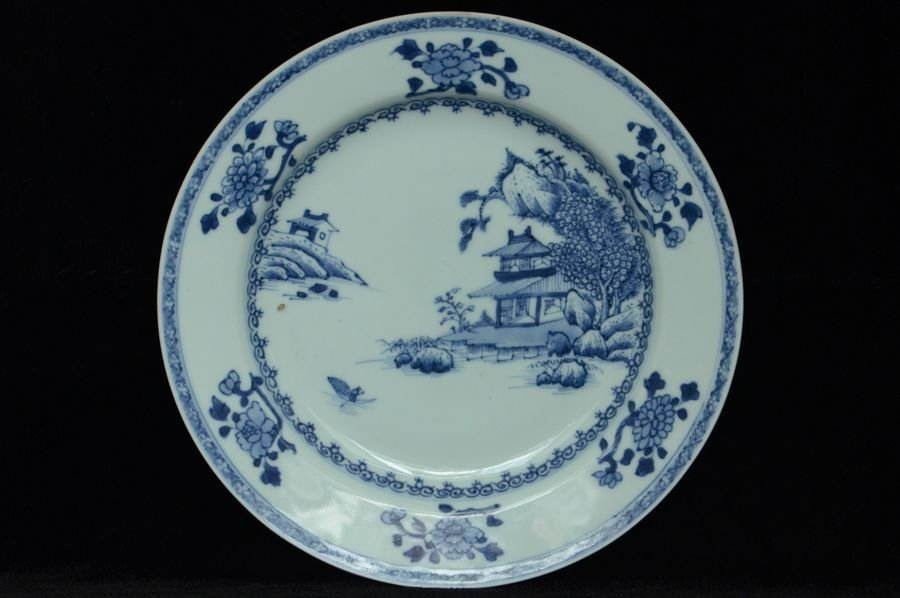 Chinese Blue and White Porcelain Plate 18th C