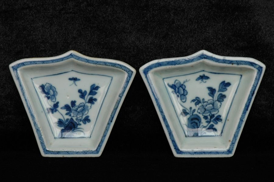 Pair of Chinese Blue White Porcelain Dishes 18th C