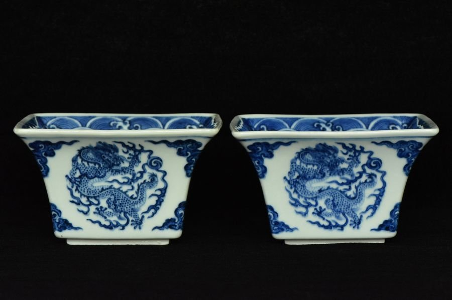 Pair of Chinese Dragon Cups Qianlong Mark Period
