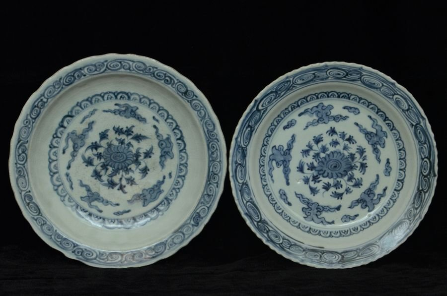 Pair of Chinese Ming Blue and White Plates 15th C