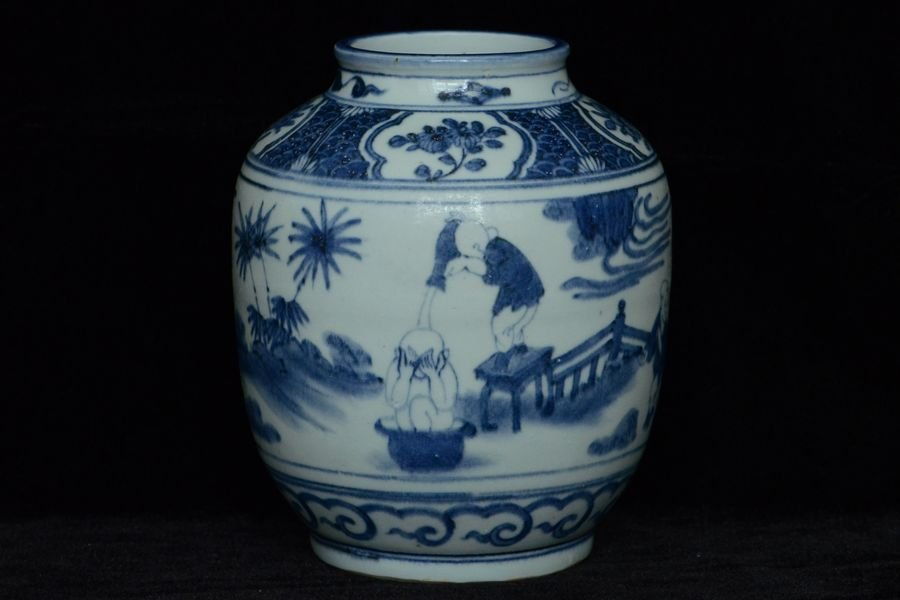 Chinese Ming Blue and White Jar Figure 15th C